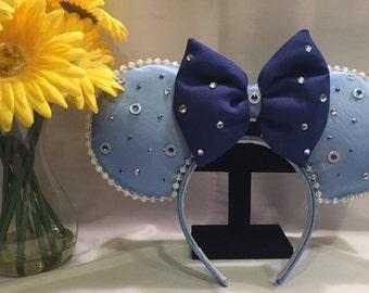 Light Blue and Dark Blue with White Pearl Minnie Ears Headband