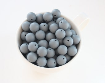 Dark grey 15 mm food grade silicone beads / Safe for baby teething
