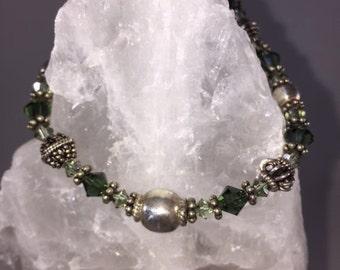 Bali Silver & Crystal Bracelet