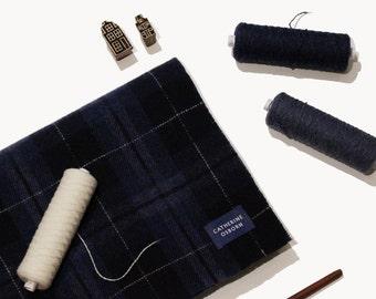 Sashiko Wool Scarf Nº2 - Oversized Lambswool Scarf, made in Scotland