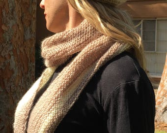 Champagne colored variegated hand knit asymmetrical scarf