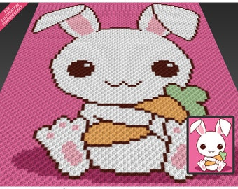 Carrot Bunny crochet blanket pattern; c2c, cross stitch; knitting; graph; pdf download; no written counts or row-by-row instructions