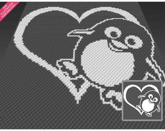 Penguin Heart crochet blanket pattern; c2c, cross stitch; graph; pdf download; no written counts or row-by-row instructions