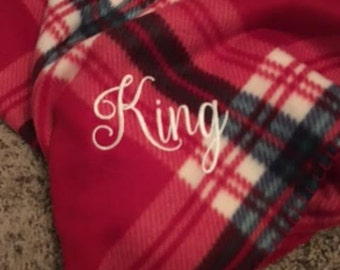 Monogrammed Fleece Sofa Throw