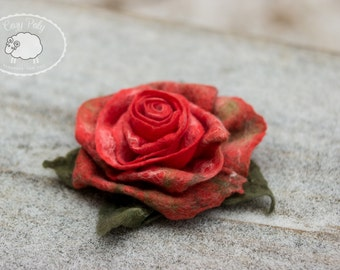 Gift Ideas for Her Rose Brooch Wool Jewelry Flower Brooch Rose Jewelry Felted Brooch, Felted Rose, Felted flower, wool felted flower