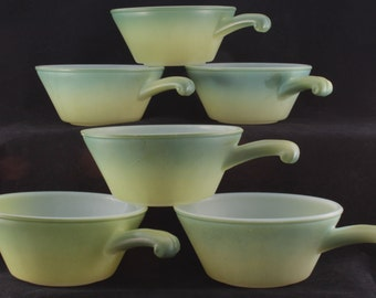 Vintage Fire King Green French Casseroles/Handled Bowls-Set of 6