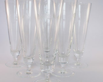 Six Vintage Hand Cut Hand Blown Footed Trumpet-Shaped Pilsner Glasses (Japan)