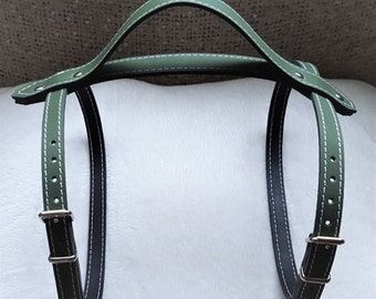 Khaki Green leather Vintage picnic blanket strap with carry handle