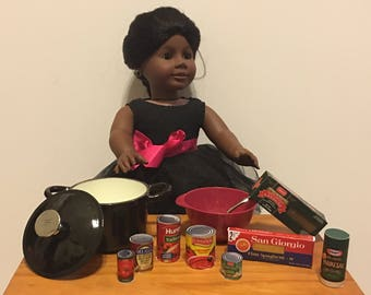 "Cast Iron Pot with Lid, Bowl, Fork and Pasta Supplies for tour 18"" Doll, American Girl or Boy"
