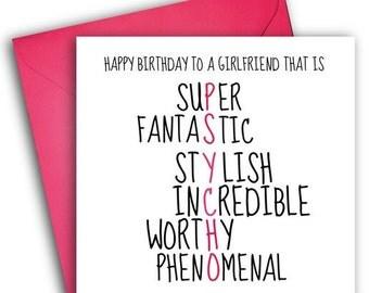 Girlfriend Birthday Card/ Funny Greetings Card