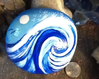 Wave & Moon - Ocean - Waves - Surf - Moon - Painted rocks - beach rocks