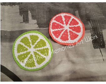 Cross stitch citrus coasters