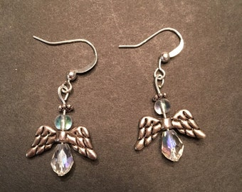 Glass Angel Earrings, Wings Earrings