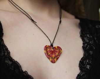 Fire Flower heart pendant
