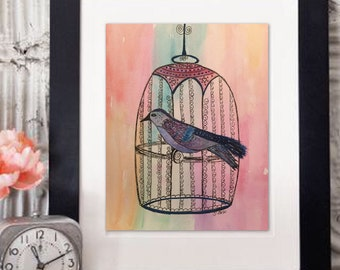Whimsical watercolor Pen and Ink Bird painting, Vintage look,  Birdcage Boho home decor, cottage Chic, Nursery Art, Soft pretty painting