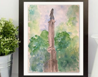 Watercolor Landscape Painting, Original Savannah statue, Impressionist watercolor trees, Pen and Ink, Georgia Travel art, green and blue