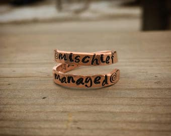 Personalized Wrap Rings Hand Stamped in Copper or Aluminum Adjustable Harry Potter Mischief Managed