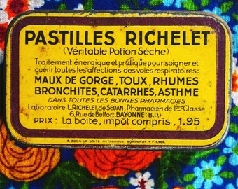 Vintage box. French advertising medical box. Pastilles. French vintage. Storage box. 1940s.