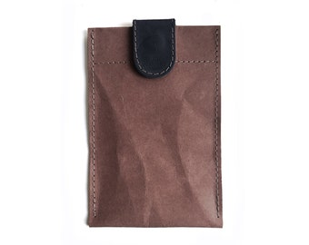 Chocolate brown washable paper phone case with black leather closure, iphone 6 case