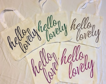 Hello Lovely Bridesmaid Gift Tote Bags
