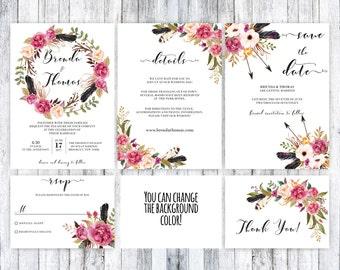 Boho boda conjunto invitación boda Boho, boho para imprimir invitación, invitación floral de boho, boho plantilla de boda, invitación de boda rústica