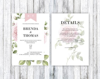 Printable Wedding Invitation, Wedding Invitation template, Floral Wedding Invitation,Botanical  wedding Invite,PDF Invite,wedding printables