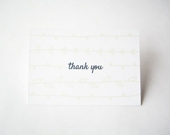 Thank You Card for a Casual & Modern Wedding | Simplistic Leaves | White and Modern