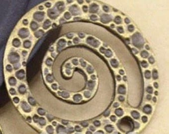Pair - Antique Bronze Hammered Scroll Drop - 26mm G15