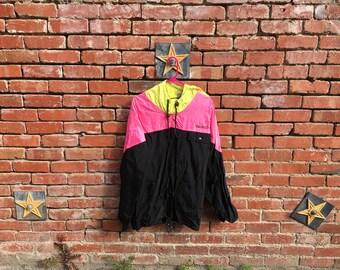 Colorado Jacket / 90s Neon Colorblock Pink Yellow Black Colorado Windbreaker Jacket