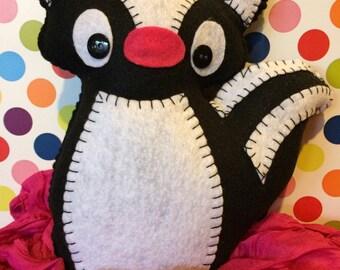 Handcrafted felt animal- spunky skunk