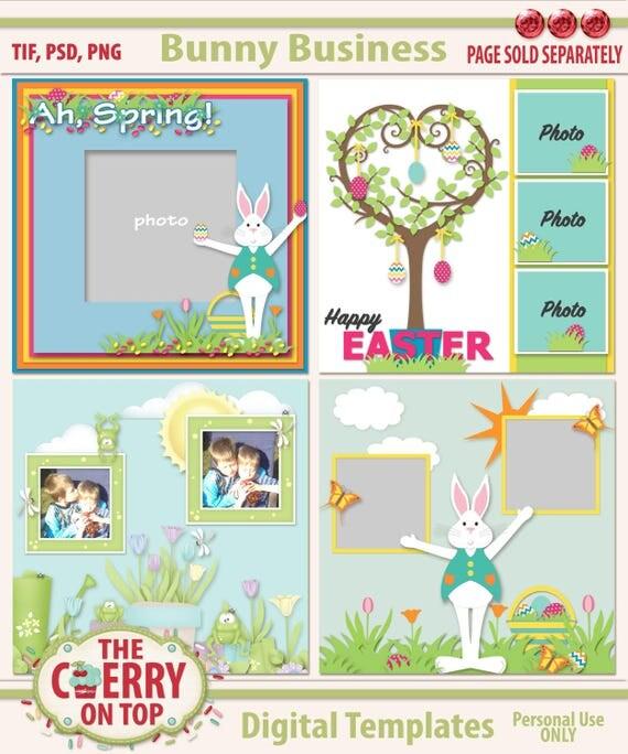 Bunny Business Digital Scrapbooking Templates