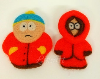 Set of 2 characters ! Needle Felted South Park , 3D Magnet , Kenny McCormick from South park , Eric Cartman , Felted Characters , Felted 3 D