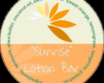 Sunrise Lotion Bar #aromatherapy #tin #shea butter #grapefruit #lemongrass #tangerine #orange