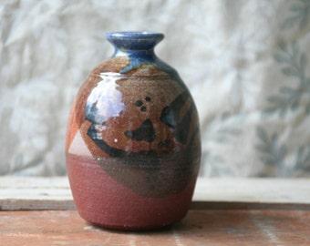 Studio Pottery Vase  Vintage Mid Century Stoneware Studio Pottery Vase 70s Pottery Hand Thrown Pottery
