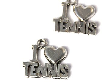 2pc, Tennis Charm, Pewter
