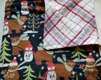 Baby/Toddler Blanket, Christmas, Bears, Forest, Snowmen, Plaid