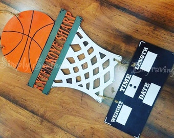 Hospital Wooden Door Hanger - Custom Door Hanger - Door Hanger - Decor - Decorations - Baby Boy - Baby Door Hanger - Basketball
