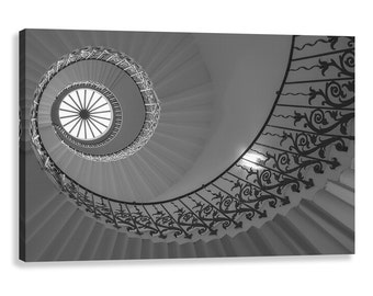 Tulip staircase, black and white canvas wrap, London, spiral pattern,  fine art photography,   wall art