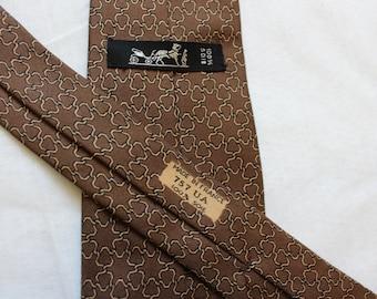 Tie HERMES 100% silk, silk, Paris, Made in France, geometric, graphic pattern, chain, Brown and beige, vintage, 757 au, 70's.