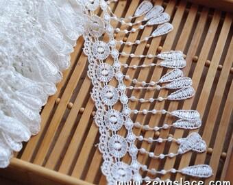 Off-White Venice  trim/Tassel Lace/Guipure Lace/Lace Curtain Trim/Bridal Lace/Wide Lace/Couture Trim/Vintage Lace/Lace by the yard, VL-21-WH