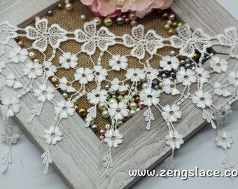 Guipure lace trim with flowers/Venise Lace/7 inches lace/Wide Lace/Vintage Lace/Antique Lace/Lace Curtain Trim/lace by the yard, GL-40