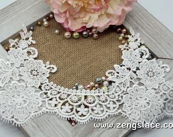 Wide guipure lace trim with floral pattern/Venise Lace Trim/Wedding Lace/Bridal Veil Lace/Wide Lace Trim/Vintage Lace/Lace by yard GL-41