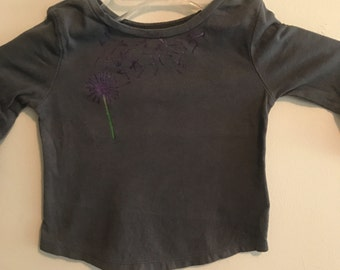 Baby-Toddler Blue/Gray Hand Painted Dandelion Tshirt