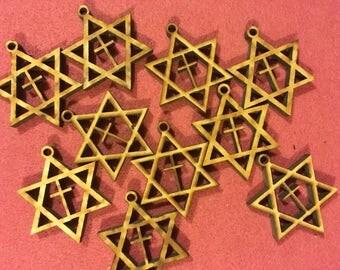 10 Star of David with Cross Wood Blanks
