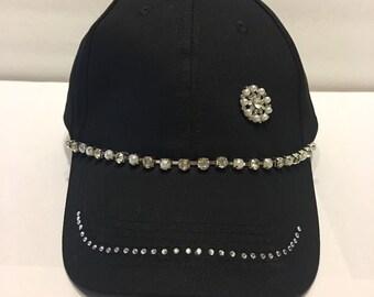 Bling Sparkle Embellished Black Hat Bling and Sparkle