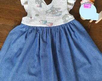 Pinafore dress,carousel,little girls dress,handmade dress