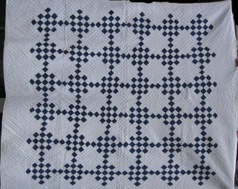 Blue and White 1880's Antique '25 Patch'Twin Size Quilt/Vintage Handmade, Hand Quilted Indigo Calico Quilt #17814