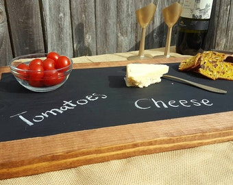 Hand-made wood serving tray with chalk board