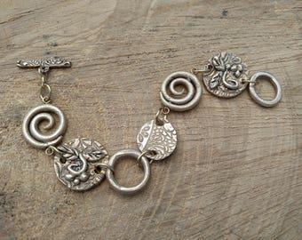 "Bronze Metal Clay Elements Link Bracelet - 8"" length"