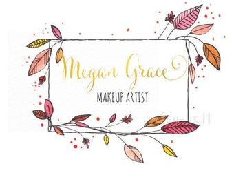 Premade Logo Spring Flowers Leaves Pink Gold Bold Clothing Accessories Handmade Branding Business Logo Shop Banner Business Card PL067